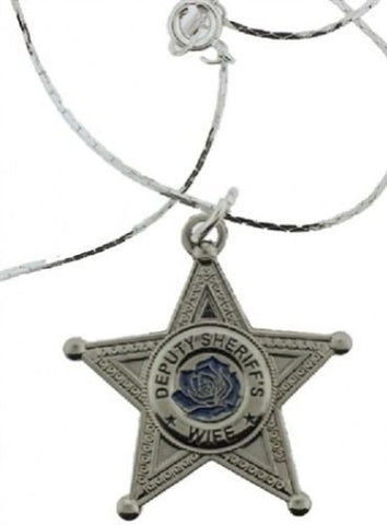 Free Shipping - Deputy Sheriff's Wife Blue Rose Pendant