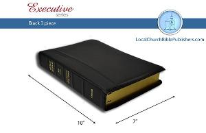 Mid-Size Large Print Center Column Reference 3 Piece KJV Bible (Black, Ironed Calfskin, Red Letter)