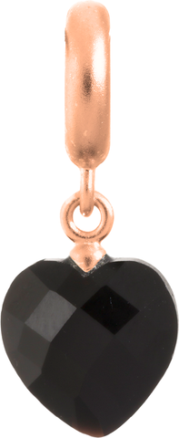 Black Heart Cut Drop - Endless Jewelry Rose Gold Plated Sterling Silver Charm 63351-2