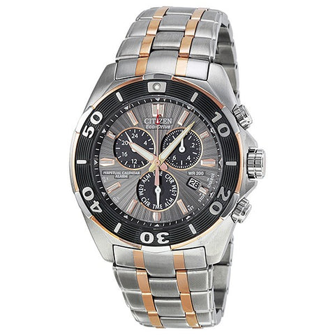 BL5446-51H Signature Perpetual Calendar Eco-Drive Chronograph Grey Dial Men's Watch