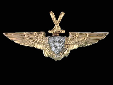 14kt Aviator Wing Pendant w/0.12 cttw Diamonds