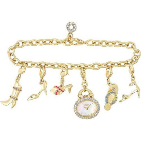 EG2442-60D Citizen Women's Silhouette Eco-Drive Charm Bracelet Gold-Tone Watch