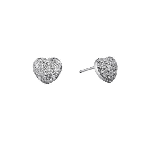 Micro Pave Heart Stud Earrings - Lafonn E0048CLP00