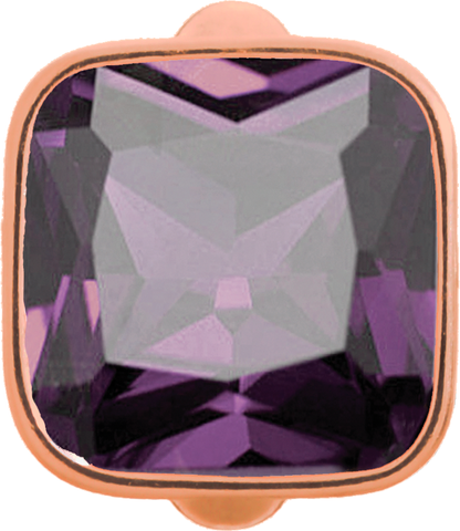 Big Amethyst Cube - Endless Jewelry Rose Gold Plated Sterling Silver Charm 61302-1