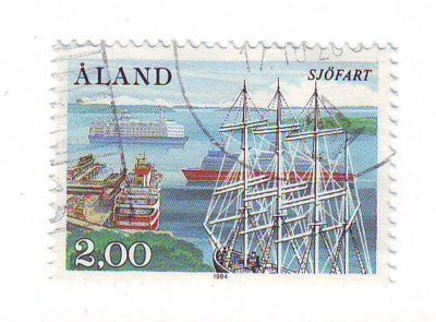 Aland Finland Scott  23 1984 Bark Pommern stamp used