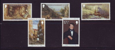 Guernsey Scott 213-17 1980 Le Lievre Paintings stamp set mint NH