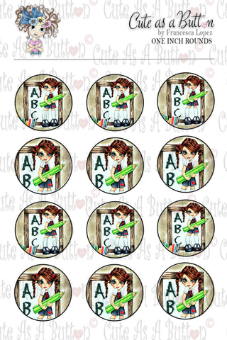 Cute As A Button Designz BC00036 Back to School Bottle Caps/Buttons/Stickers