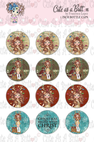 Cute As A Button Digistamp BC00317 Tangled Lights Bottle Caps 4x6