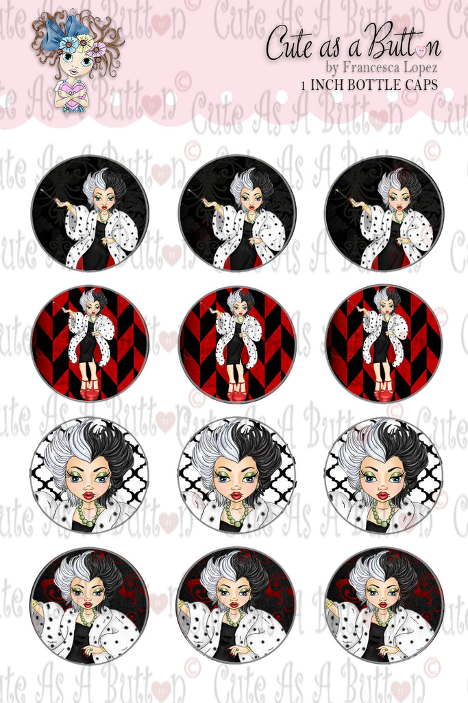 Cute As A Button Digistamps BC00323 Cruella Bottle Caps 4x6