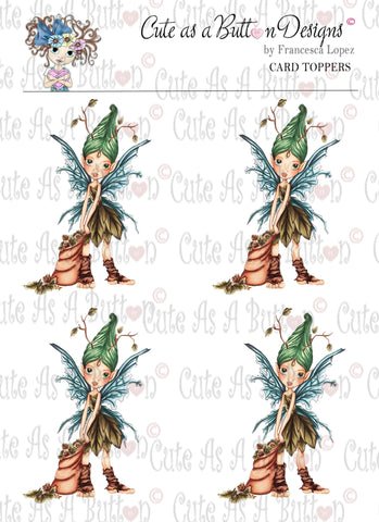 CT00003 Autumn Fairy 3D Card Topper Digital Colored Dow