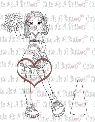Cute As A Button DigistampsIMG00119 Cheerleader Line Art Digi Stamp
