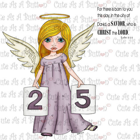Cute As A Button Digistamps IMG00344 Pre-Colored Christmas Angel Digital Stamp