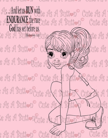Cute As A Button Designs IMG00449 Run The Race - Bible Journaling Bookmark Digital Digi Stamp