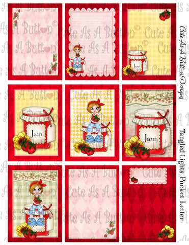 Cute As A Button Designs  Strawberry Jam Pocket Letter KIT Instant Download