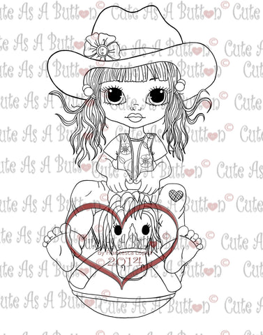 Cute As A Button Digistamps IMG00117 Chloe Horse Hopper Digi Stamp