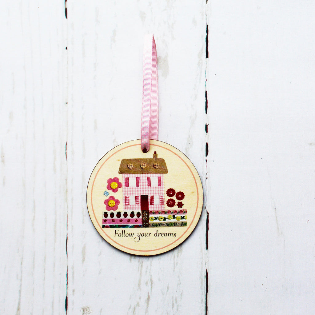 Wooden Gift Tag Follow Your Dreams Made in Britain Eco-friendly - Kelly Rideout Design