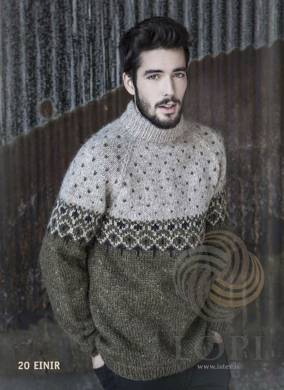 Icelandic sweaters and products - Einir Mens Wool Sweater Green Tailor Made - NordicStore