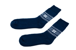 Icelandic sweaters and products - Álafoss Wool Socks w/ Traditional Pattern Wool Socks - NordicStore