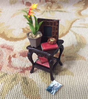 Bespaq Table Stand Dressed with Plant Books Picture Frame 1:12 Dollhouse Miniature