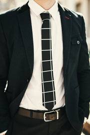 The Classic Grid Skinny Tie (Black/White Grid)