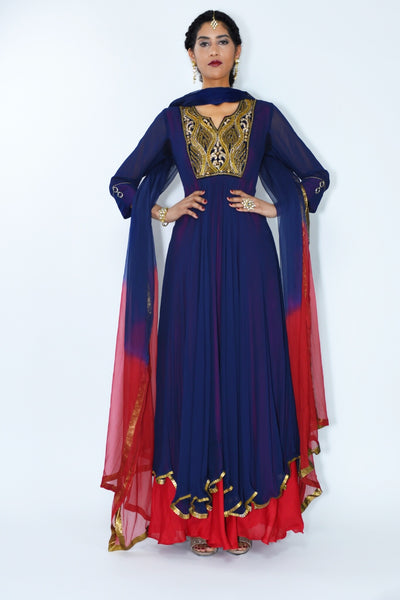 Purva - Royal blue Anarkali suit with red accents