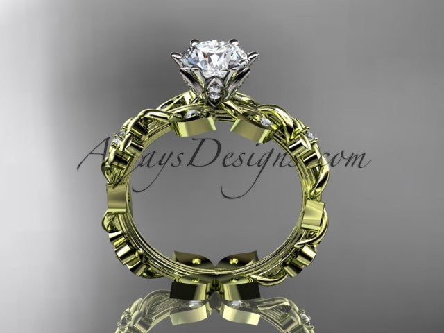 14kt yellow gold diamond leaf and vine engagement ring ADLR209 - AnjaysDesigns