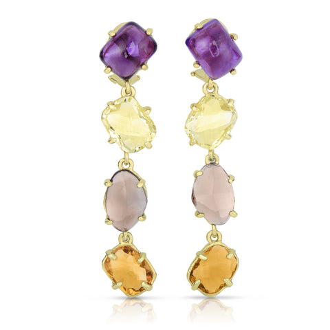Multicolor stone drop earrings