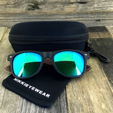 Matte Black Hybrid Rosewood Bamboo Sunglasses Flash Colored Lens - NikkiEyewear.com - 7