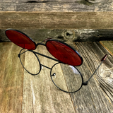 Vintage Steampunk Hippie Round Flip Up Tinted Color Lens Sunglasses - NikkiEyewear.com - 7