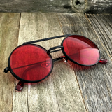 Vintage Steampunk Hippie Round Flip Up Tinted Color Lens Sunglasses - NikkiEyewear.com - 3