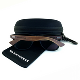 Matte Black Hybrid Rosewood Bamboo Sunglasses Flash Colored Lens - NikkiEyewear.com - 9