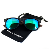 Matte Black Hybrid Rosewood Bamboo Sunglasses Flash Colored Lens - NikkiEyewear.com - 13