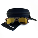 Matte Black Hybrid Rosewood Bamboo Sunglasses Flash Colored Lens - NikkiEyewear.com - 24