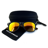 Matte Black Hybrid Rosewood Bamboo Sunglasses Flash Colored Lens - NikkiEyewear.com - 23