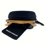 Matte Black Hybrid Rosewood Bamboo Sunglasses Flash Colored Lens - NikkiEyewear.com - 10