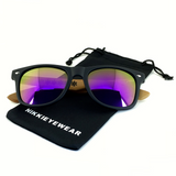 Matte Black Hybrid Rosewood Bamboo Sunglasses Flash Colored Lens - NikkiEyewear.com - 17