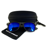 Matte Black Hybrid Rosewood Bamboo Sunglasses Flash Colored Lens - NikkiEyewear.com - 21