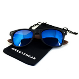 Matte Black Hybrid Rosewood Bamboo Sunglasses Flash Colored Lens - NikkiEyewear.com - 18