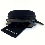 Matte Black Hybrid Rosewood Bamboo Sunglasses Flash Colored Lens - NikkiEyewear.com - 12