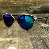 Throwback Horned Rim Sunglasses with Modern Patterns Surrounding The Top Frame - NikkiEyewear.com - 5