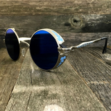 Gothic Steampunk Embossed Side Shields Intricate Details with Mirror Blue Lens Sunglasses - NikkiEyewear.com - 3