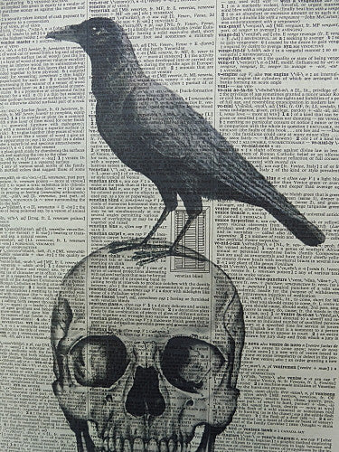 Skull with Black Crow Print No.316, gothic