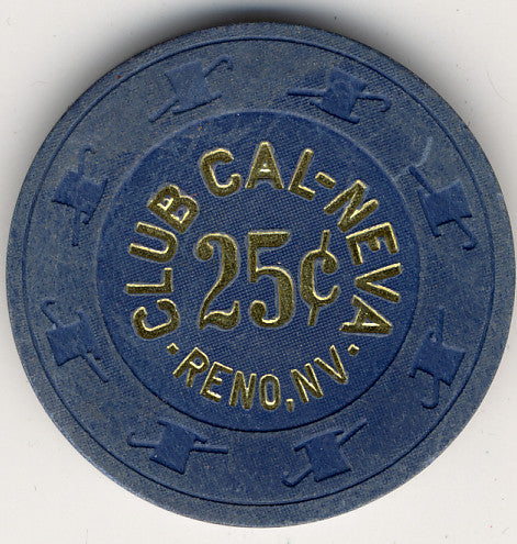 Club Cal-Neva 25cent (slanted cent sign navy 1908s) Chip