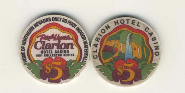 Clarion Casino $5 (white) chip