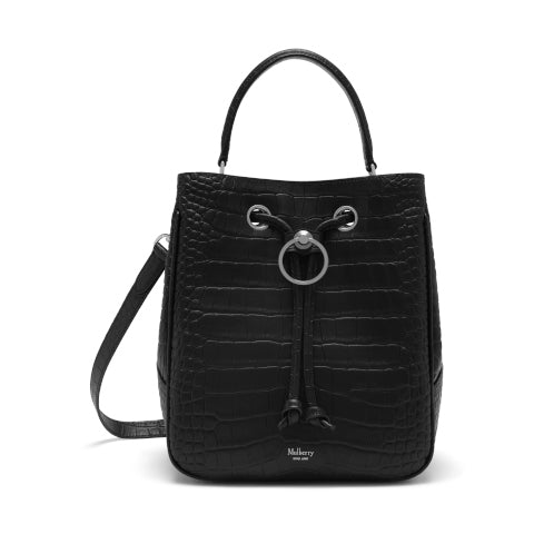 Mulberry Black Matte Croc Embossed Hampstead Bucket Bag