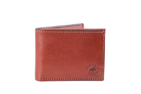 Deluxe Men's Bifold Wallet Medium Brown English Bridle Leather Hand Made
