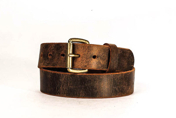 "Full Grain Genuine Buffalo 1 1/2"" Distressed Leather Casual Belt - Brown - Handmade in USA - Free Shipping"