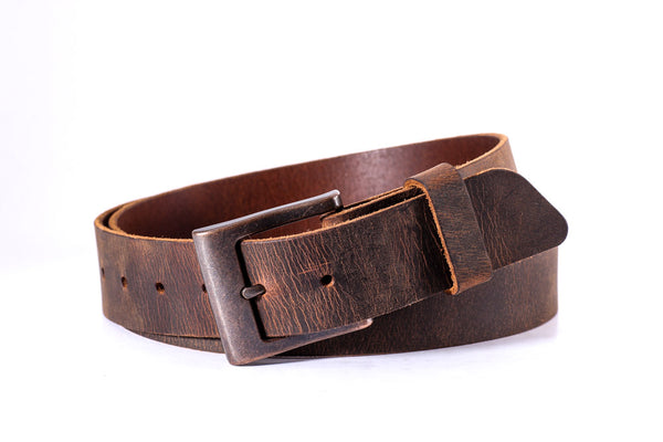 "Distressed brown buffalo leather 1 1/2"" with copper buckle size 40 - one only"