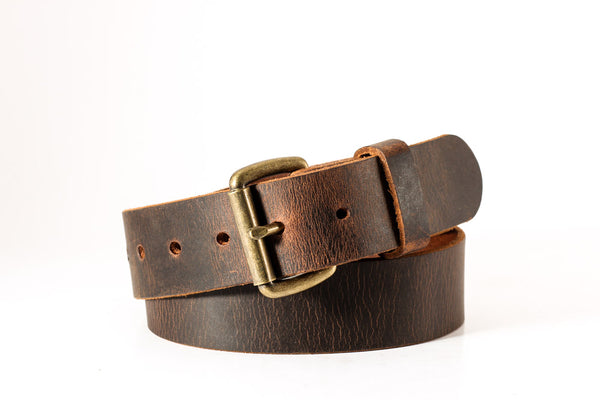 "Buffalo distressed leather belt 1 1/2"" wide brass roller buckle size 31 one only"