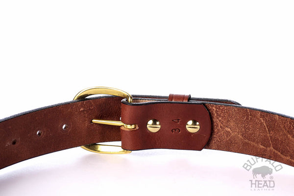 "English Bridle Leather Thick 10 ounce Heavy Duty Work/Dress/Carry Belt 1 1/2 "" Wide, Rich Brown, Solid Brass Roller Buckle Free Shipping"